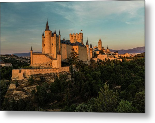 Segovia Alcazar And Cathedral Golden Hour Metal Print