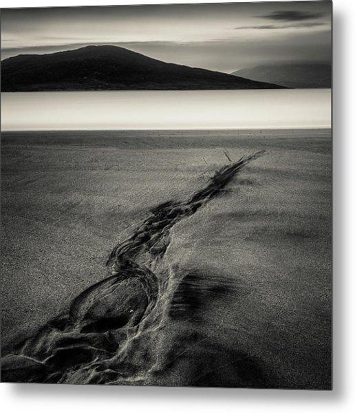 Seilebost Sand Tracks Metal Print