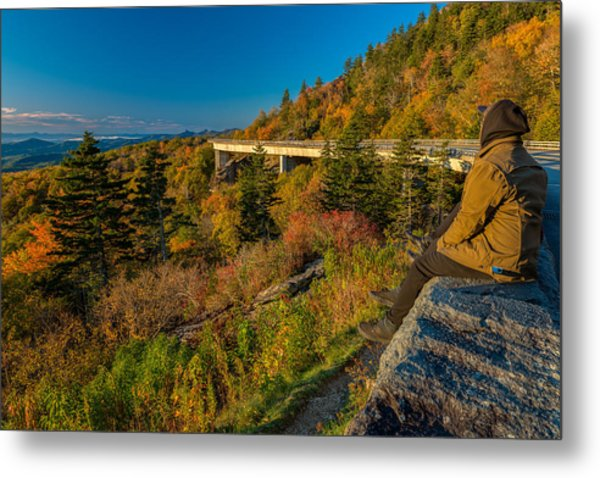 Seize The Day At Linn Cove Viaduct Autumn Metal Print