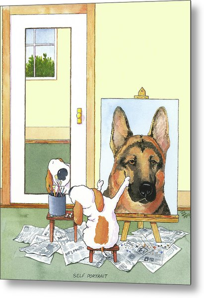 Self Portrait, German Shepherd Metal Print