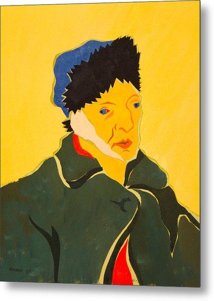Self Portrait With Bandaged Ear. After Vincent Van Gogh Metal Print by Vitali Komarov