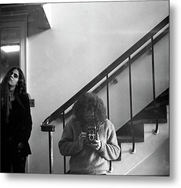 Self-portrait, With Woman, In Mirror, Cropped, 1972 Metal Print