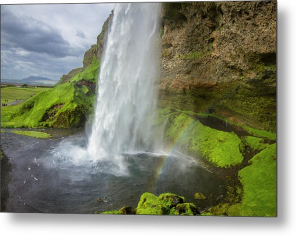 Seljalandsfoss With Rainbow, Iceland Metal Print