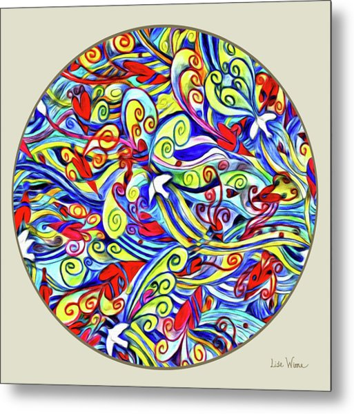 Semi Abstract Paintings Button Metal Print