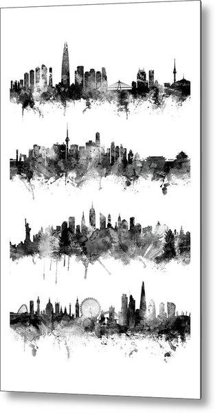 Seoul, Beijing, New York And London Custom Skyline Collection Metal Print