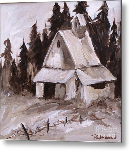 Metal Print featuring the painting Sepia Barn by Phyllis Howard