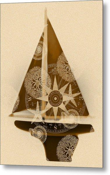 Sepia Boat Metal Print by Frank Tschakert