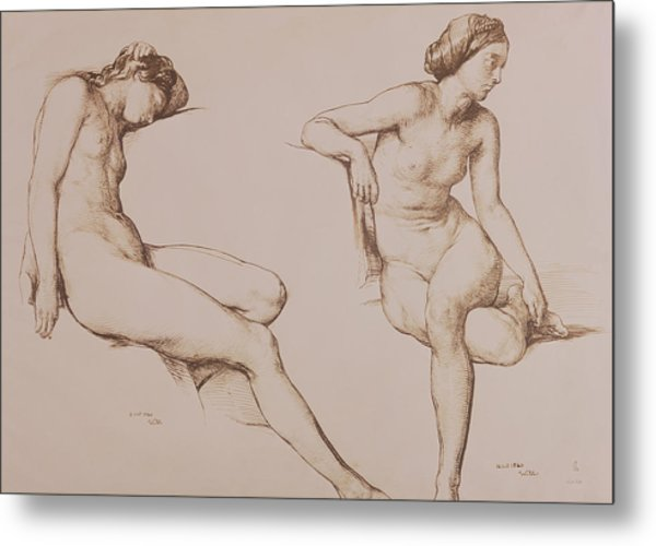 Sepia Drawing Of Nude Woman Metal Print