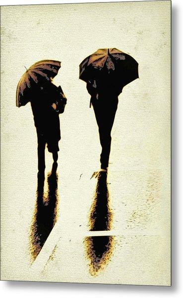 Sepia Rain Metal Print