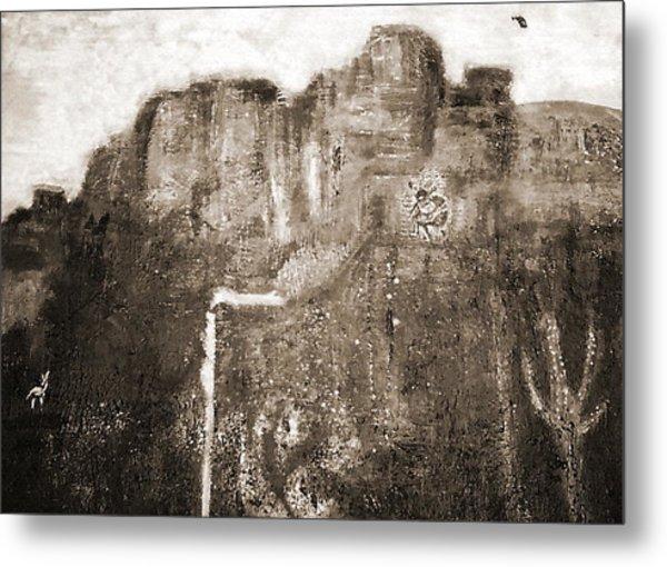 Sepia Version Of Mesa Painting Metal Print by Anne-Elizabeth Whiteway