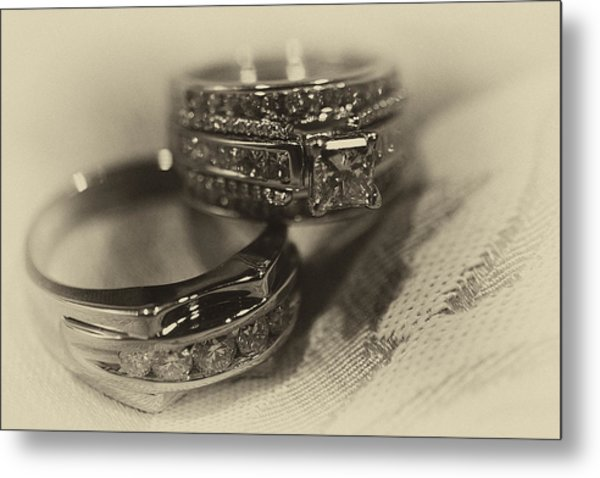 Sepia Wedding Ring Example Metal Print by David Patterson