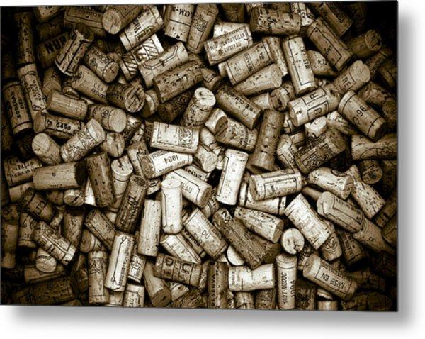 Sepia Wine Corks Metal Print by Frank Tschakert