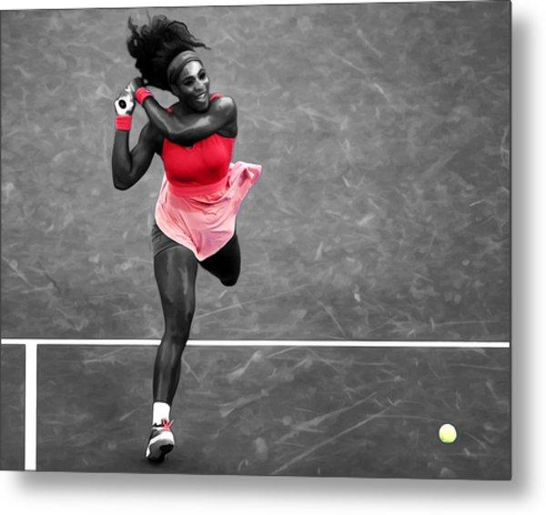 Serena Williams Strong Return Metal Print