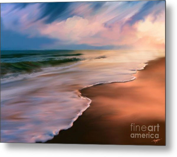Serene Beach At Sunrise Metal Print