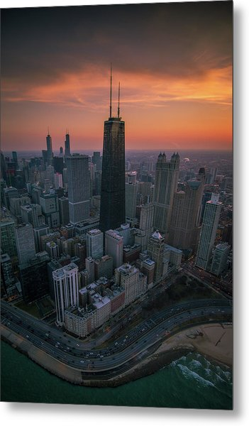 Setting On Chicago Metal Print