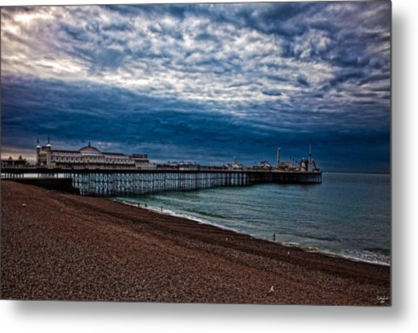 Seven Am On Brighton Seafront Metal Print