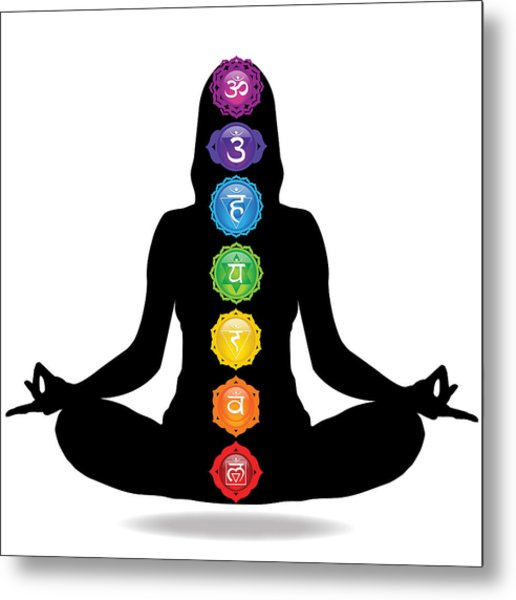 Seven Chakra Illustration With Woman Silhouette Metal Print