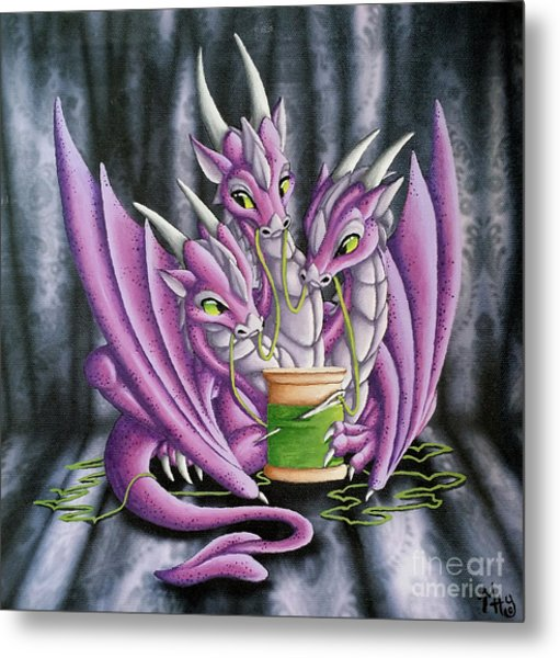 Metal Print featuring the painting Sewing Dragons by Mary Hoy