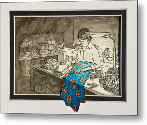 Sewing Overflowing Metal Print by Vic Delnore