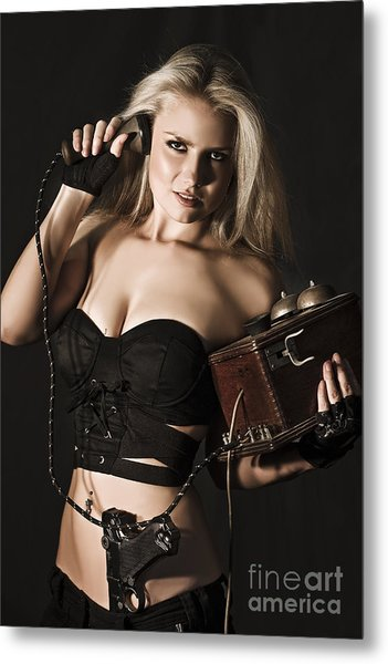 Sexy Blond Secret Agent Metal Print