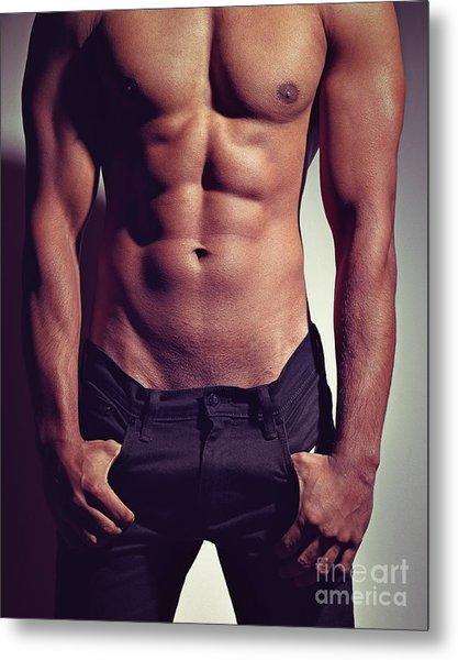Sexy Male Muscular Body Metal Print