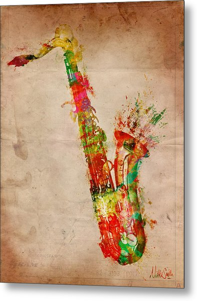 Metal Print featuring the digital art Sexy Saxaphone by Nikki Smith