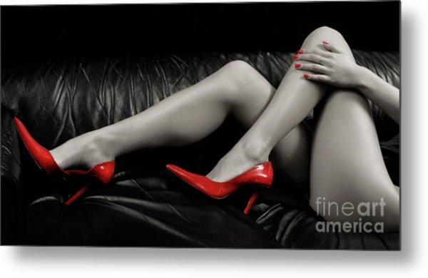Sexy Woman Legs In Red High Heels Metal Print