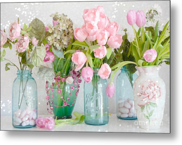 Shabby Chic Cottage Ball Jars And Tulips Floral Photography - Mason Ball Jars Floral Photography Metal Print