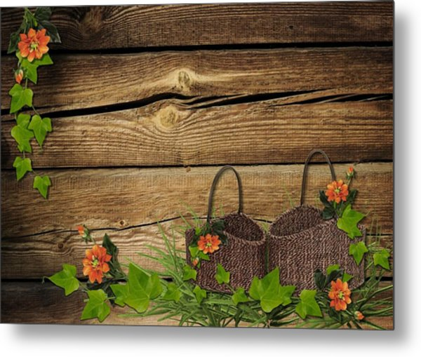Shabby Chic Flowers In Rustic Basket Metal Print