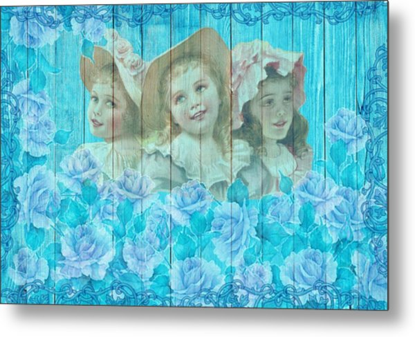 Shabby Chic Vintage Little Girls And Roses On Wood Metal Print