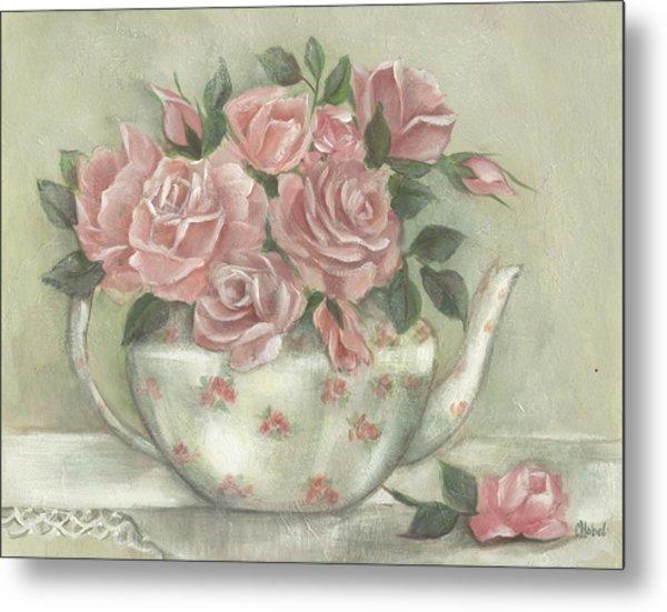 Shabby Teapot Rose Painting Metal Print