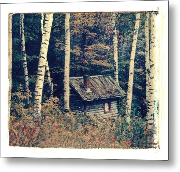 Shack And Birch Trees Metal Print