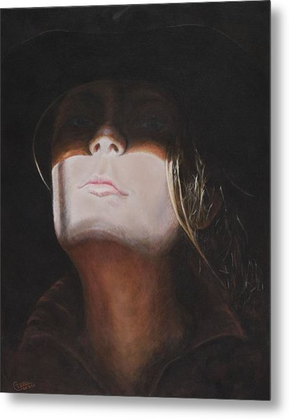 Shadow Of A Cowgirl Metal Print