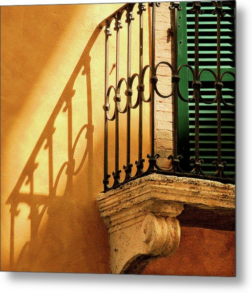 Shadows And Green Shutter Metal Print