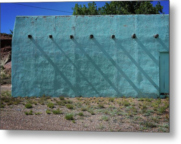 Shadows On Turquoise Wall Metal Print