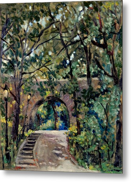 Shady Path Near The Cloisters Fort Tryon Park Nyc Metal Print