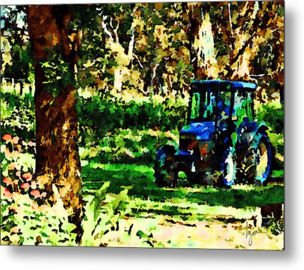 Metal Print featuring the painting Shady Tractor by Angela Treat Lyon