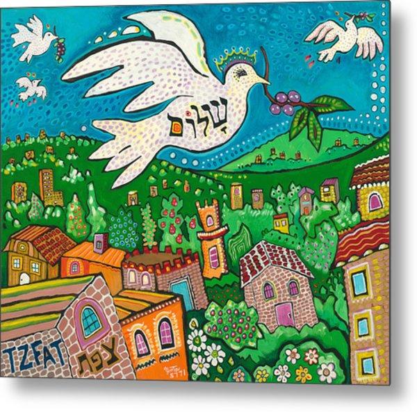 Shalom Over Tzfat Metal Print