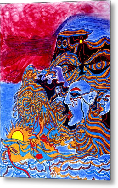 Shaman Of The Red Sky Metal Print by William Watson