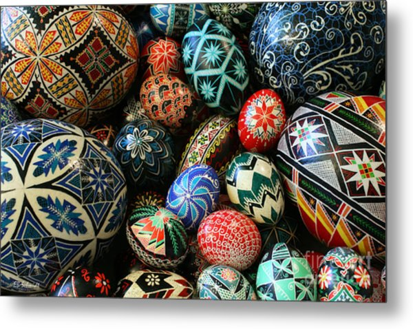 Shari's Ukrainian Eggs Metal Print