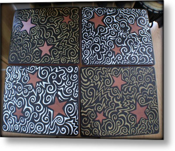Sharpie Star Tv Table Set Metal Print