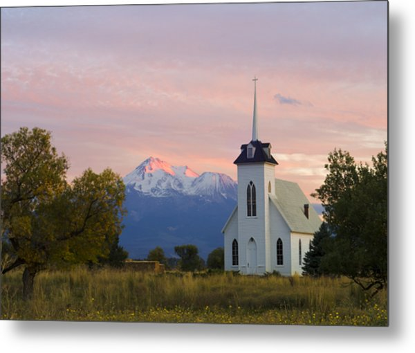 Shasta Alpenglow With Historic Church Metal Print