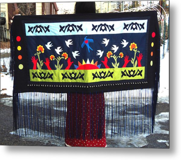 Metal Print featuring the tapestry - textile Shawl - Lost Birds Return by Chholing Taha