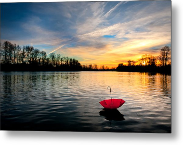 She Floats Away Metal Print