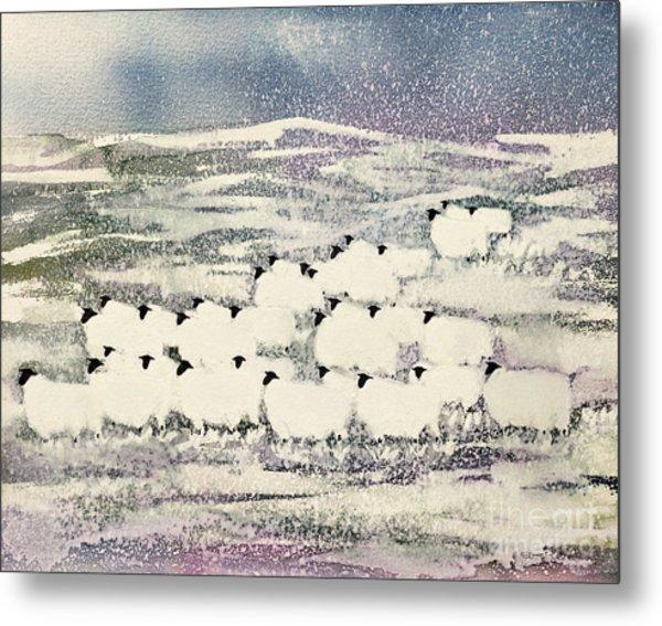 Sheep In Winter Metal Print