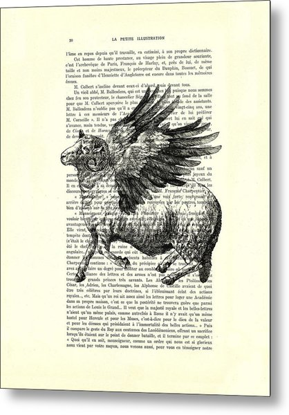 Sheep With Angel Wings Black And White  Metal Print
