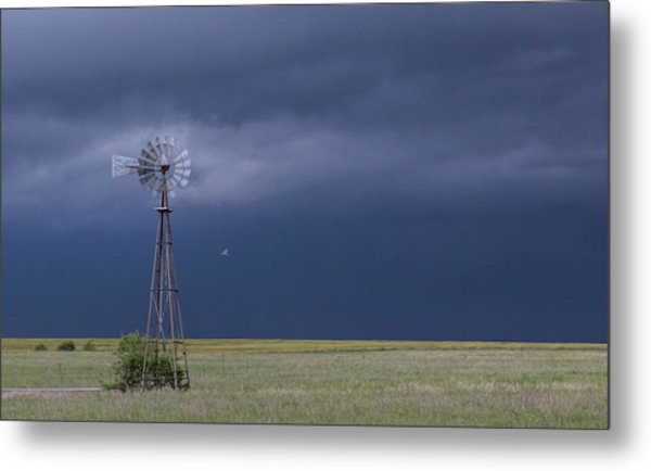 Metal Print featuring the photograph Shelf Cloud And Windmill -02 by Rob Graham