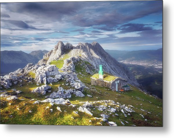 Shelter In The Top Of Urkiola Mountains Metal Print