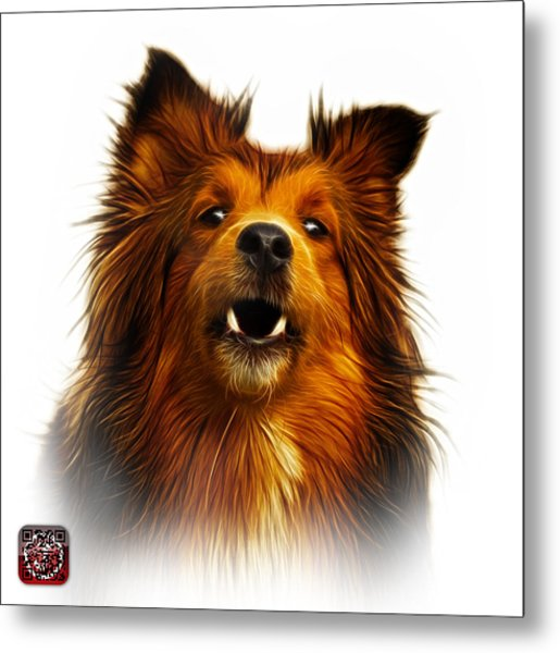 Metal Print featuring the painting Sheltie Dog Art 0207 - Wb by James Ahn
