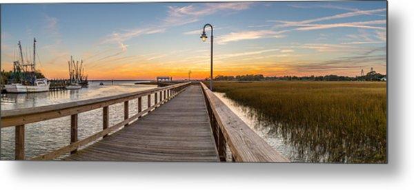 Shem Creek Pier Panoramic Metal Print